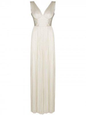 Плиссированное вечернее платье Velika без рукавов Maria Lucia Hohan. Цвет: белый