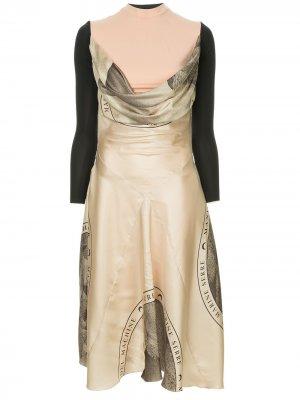 Асимметричное платье миди Marine Serre. Цвет: нейтральные цвета