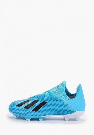 Бутсы adidas. Цвет: голубой