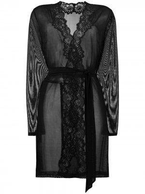 Прозрачный халат Beaty Street с кружевом Myla. Цвет: черный