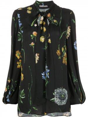 Блузка с бантом и цветочным принтом Lela Rose. Цвет: черный