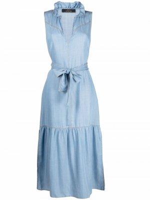 Джинсовое платье миди с баской TWINSET. Цвет: синий