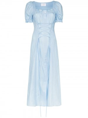 Платье миди с корсетом Sleeper. Цвет: синий