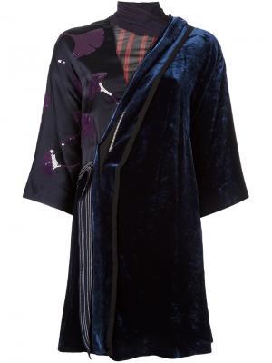 Бархатное платье в стиле кимоно 3.1 Phillip Lim. Цвет: синий