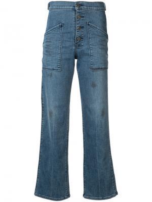 Расклешенные джинсы Worker с завышенной талией Rta. Цвет: зеленый