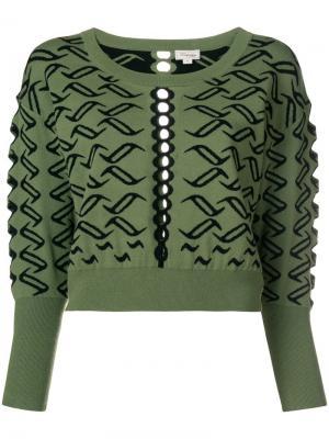 Patterned cropped jumper Temperley London. Цвет: зеленый