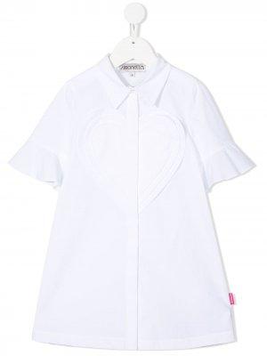 Платье с короткими рукавами и аппликацией Simonetta. Цвет: белый