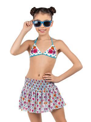 Купальник для девочек (бюст, плавки, юбка) Arina. Цвет: белый
