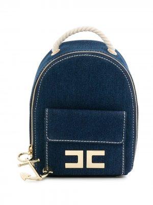 Джинсовый рюкзак с веревочными лямками Elisabetta Franchi La Mia Bambina. Цвет: синий
