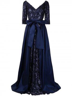 Драпированное платье Bashira Tadashi Shoji. Цвет: синий