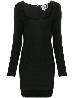 Платье Icon с квадратным вырезом Hervé Léger. Цвет: черный