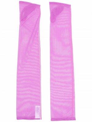 Длинные перчатки-митенки Simone Wild. Цвет: розовый