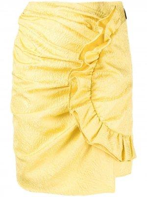 Юбка мини с узором и драпировкой MSGM. Цвет: желтый