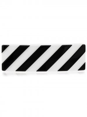 Заколка для волос в полоску Off-White. Цвет: черный