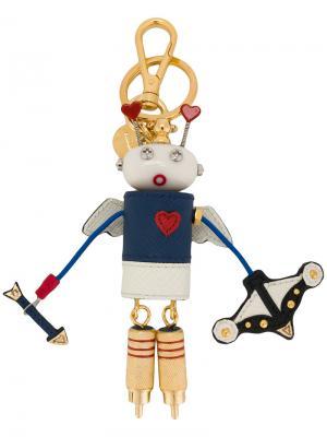 Брелок для ключей в виде робота Prada. Цвет: многоцветный
