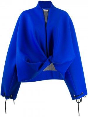 Куртка-бомбер оверсайз асимметричного кроя Nina Ricci. Цвет: синий
