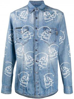 Джинсовая рубашка с принтом Philipp Plein. Цвет: синий