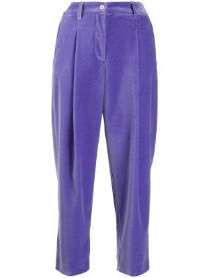 Укороченные бархатные брюки Jejia. Цвет: фиолетовый