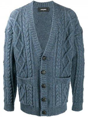 Кардиган фактурной вязки с карманами Dsquared2. Цвет: синий