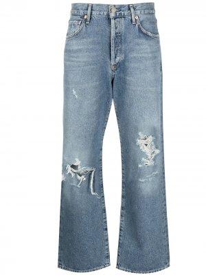 Укороченные джинсы с эффектом потертости Citizens of Humanity. Цвет: синий