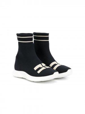 Кроссовки с логотипом Elisabetta Franchi La Mia Bambina. Цвет: черный