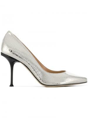 Туфли-лодочки с заостренным носком Sergio Rossi. Цвет: серебряный