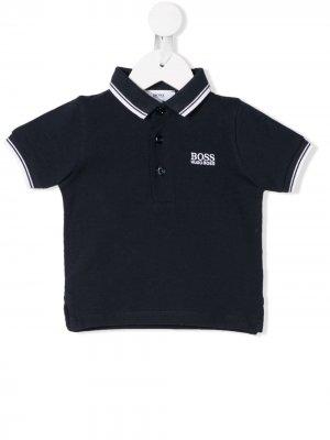 Рубашка-поло с полосками BOSS Kidswear. Цвет: синий