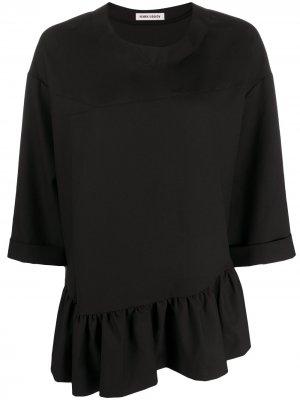 Блузка асимметричного кроя с оборками HENRIK VIBSKOV. Цвет: черный