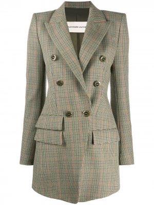 Двубортный пиджак в ломаную клетку Alexandre Vauthier. Цвет: зеленый