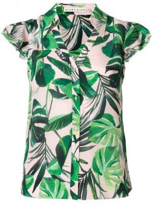 Рубашка Randa с принтом Alice+Olivia. Цвет: зеленый
