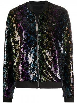 Куртка-бомбер с пайетками и монограммой Philipp Plein. Цвет: черный