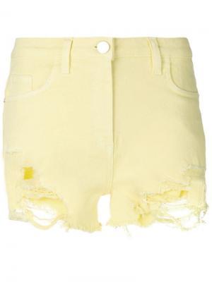 Джинсовые шорты с рваным эффектом Elisabetta Franchi. Цвет: желтый