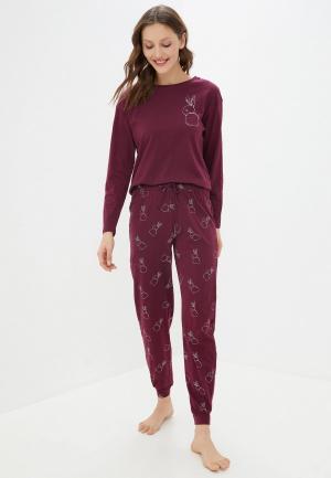 Пижама Marks & Spencer. Цвет: бордовый