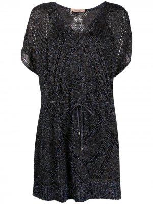 Платье с короткими рукавами TWINSET. Цвет: черный