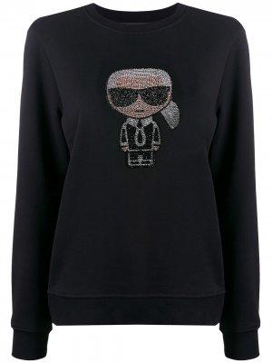 Толстовка Ikonik Karl со стразами Lagerfeld. Цвет: черный