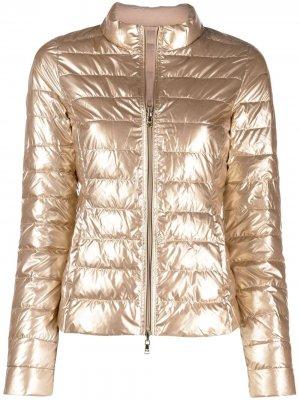 Куртка-пуховик на молнии Patrizia Pepe. Цвет: золотистый