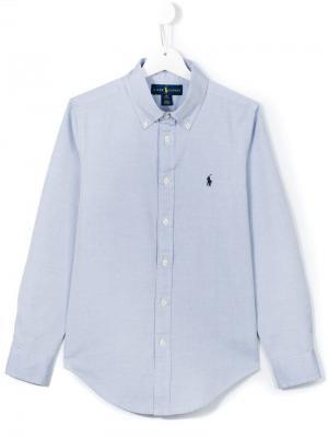 Рубашка с вышитым логотипом Ralph Lauren Kids. Цвет: синий