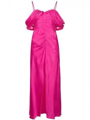 Платье с открытыми плечами и оборками Self-Portrait. Цвет: розовый