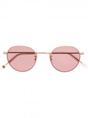 Солнцезащитные очки в круглой оправе Garrett Leight. Цвет: розовый