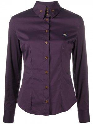 Рубашка с вышитым логотипом Vivienne Westwood. Цвет: фиолетовый