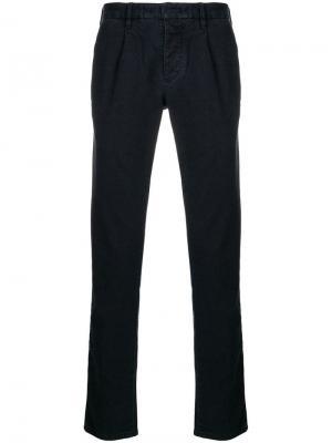 Классические однотонные брюки чинос Incotex. Цвет: синий