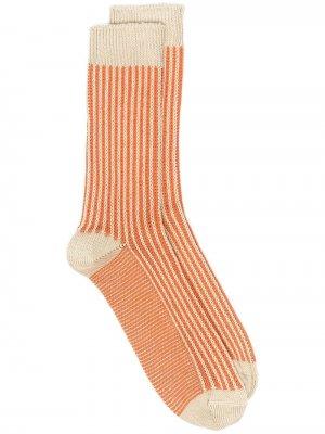 Носки фактурной вязки в полоску THUNDERS LOVE. Цвет: оранжевый