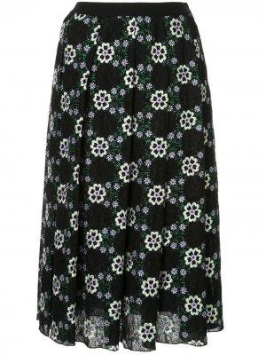 Юбка с цветочной вышивкой Giambattista Valli. Цвет: черный