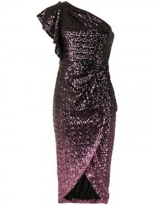 Платье с пайетками и эффектом градиента Marchesa Notte. Цвет: фиолетовый