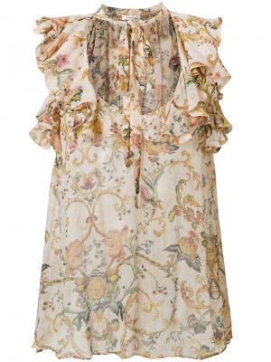 Блузка с завязками на шее Zimmermann. Цвет: нейтральные цвета