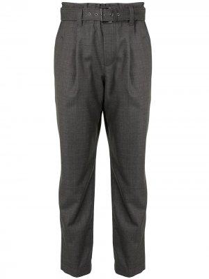Укороченные брюки с поясом Brunello Cucinelli. Цвет: серый