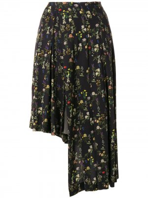 Юбка асимметричного кроя с цветочным принтом Preen By Thornton Bregazzi. Цвет: черный