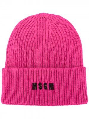Шапка бини в рубчик с вышивкой MSGM. Цвет: розовый