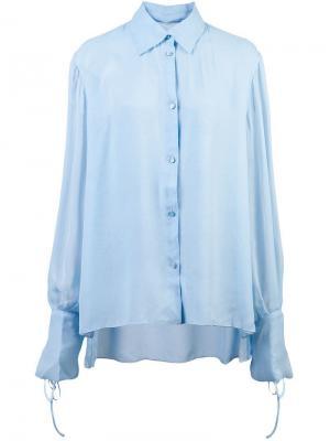 Рубашка с завязками на манжетах Carolina Herrera. Цвет: синий
