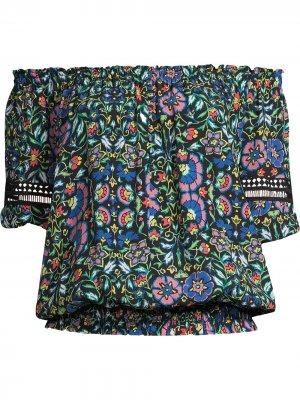 Присборенный топ с открытыми плечами и цветочным принтом Nicole Miller. Цвет: черный